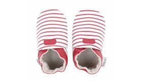 Bobux Babyslofjes White with red stripes