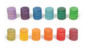 Grapat Houten Speelgoed 72 x Munten (12 kleuren)