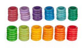 Grapat Houten Speelgoed 72 x Ringen (12 kleuren)