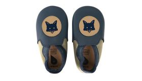 Bobux babyslofjes navy & beige fox loafer