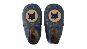 Bobux babyslofjes navy fox loafer print