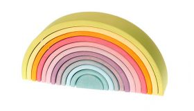 Grimms Regenboog 12-delig, Pastel kleuren houten speelgoed